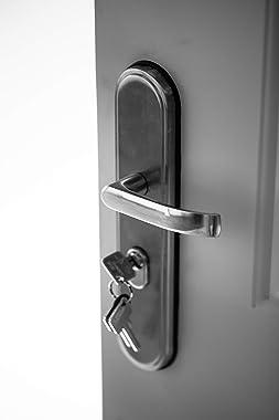 VIZ-PRO Quick Mount Steel Security Door with Frame and Hardware, 6 Panel White Left Side-Hinged Inward, 30 3/4″ Door Slab