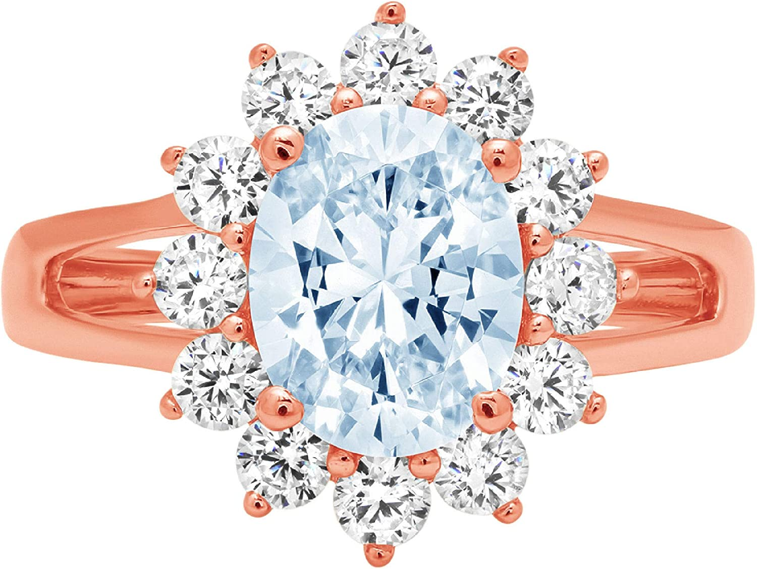2.3ct Brilliant Oval Cut Solitaire with Accent Halo Natural Sky Blue Topaz Gem Stone Ideal VVS1 Engagement Promise Statement Anniversary Bridal Wedding ring Solid 14k Pink Rose Gold