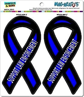 Graphics and More Support Law Enforcement Thin Blue Line Ribbon - Police Automotive Car Refrigerator Locker Vinyl Magnet Set