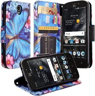 Galaxy Wireless] Compatible for ZTE Maven 3 Case, ZTE Overture 3 Case, ZTE Prelude Plus Case, Wrist Strap Folio [Kickstand] Pu Leather Wallet Case with ID&Credit Card Slot - Blue Butterfly