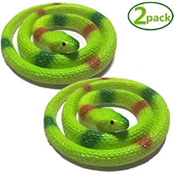 Hsxfl 4 Pieces Realistic Rubber Snakes in 27.5 Inches Pranks Multicolor Halloween Decoration Fake Snake Snake Toys for Garden Props to Scare Birds