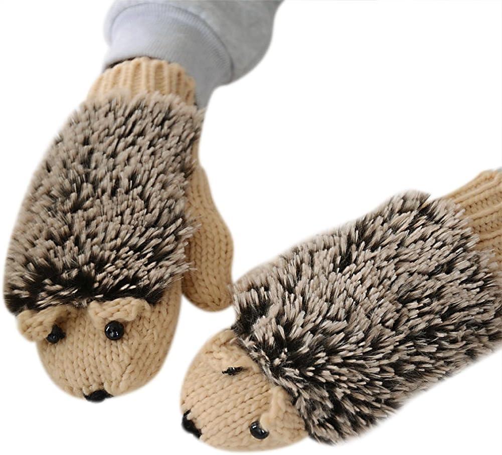 Women Girls Knitted Winter Gloves Cute Hedgehog Mittens Windproof Warm Gloves