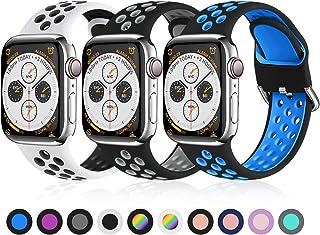 Ouwegaga Pack 3 Vervangende Bandje Compatibel met Apple Watch 44mm 42mm 38mm 40mm, Zachte Siliconen Polsbandje Sportbandje...