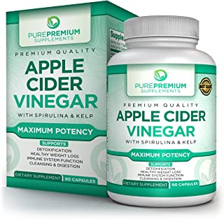 Premium Apple Cider Vinegar Supplement by PurePremium | Natural Weight Loss & Metabolism Support | Powerful Fat Burning & Immune System Boost | Promote Detoxification & Healthy Digestion | 90 Caps