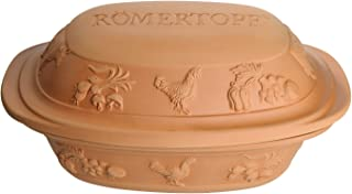 Romertopf 99129 Glazed Clay Cooker Made in Germany, Large Rustico