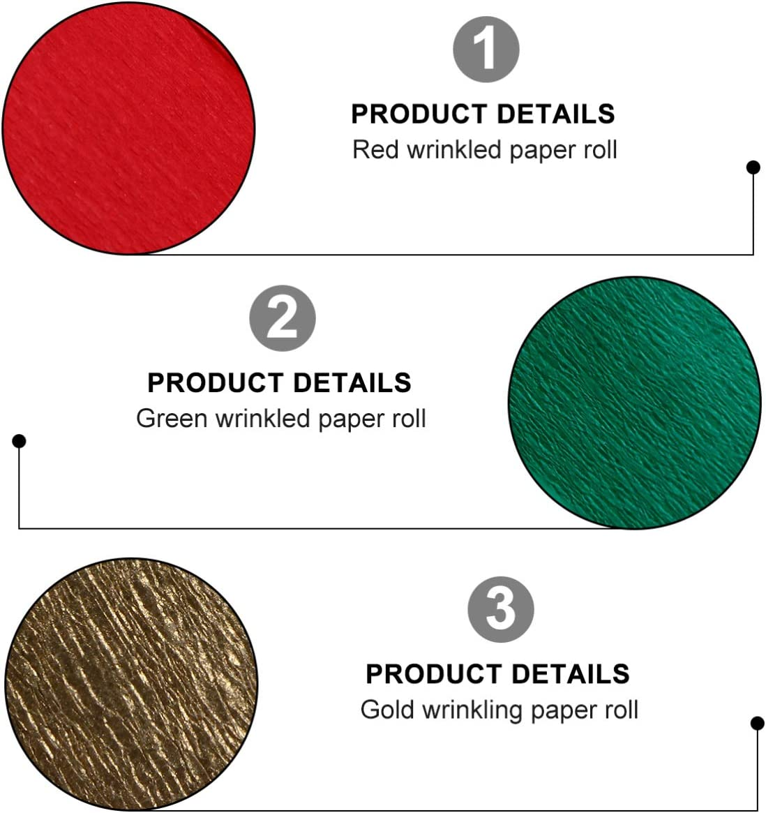 Concert and Various Festivals Ornament Red +Green+Gold EXCEART 9 Rolls Party Streamer Paper Decorations Crepe Paper in 3 Colors Crepe Paper Decors for Christmas,Birthday Party Wedding