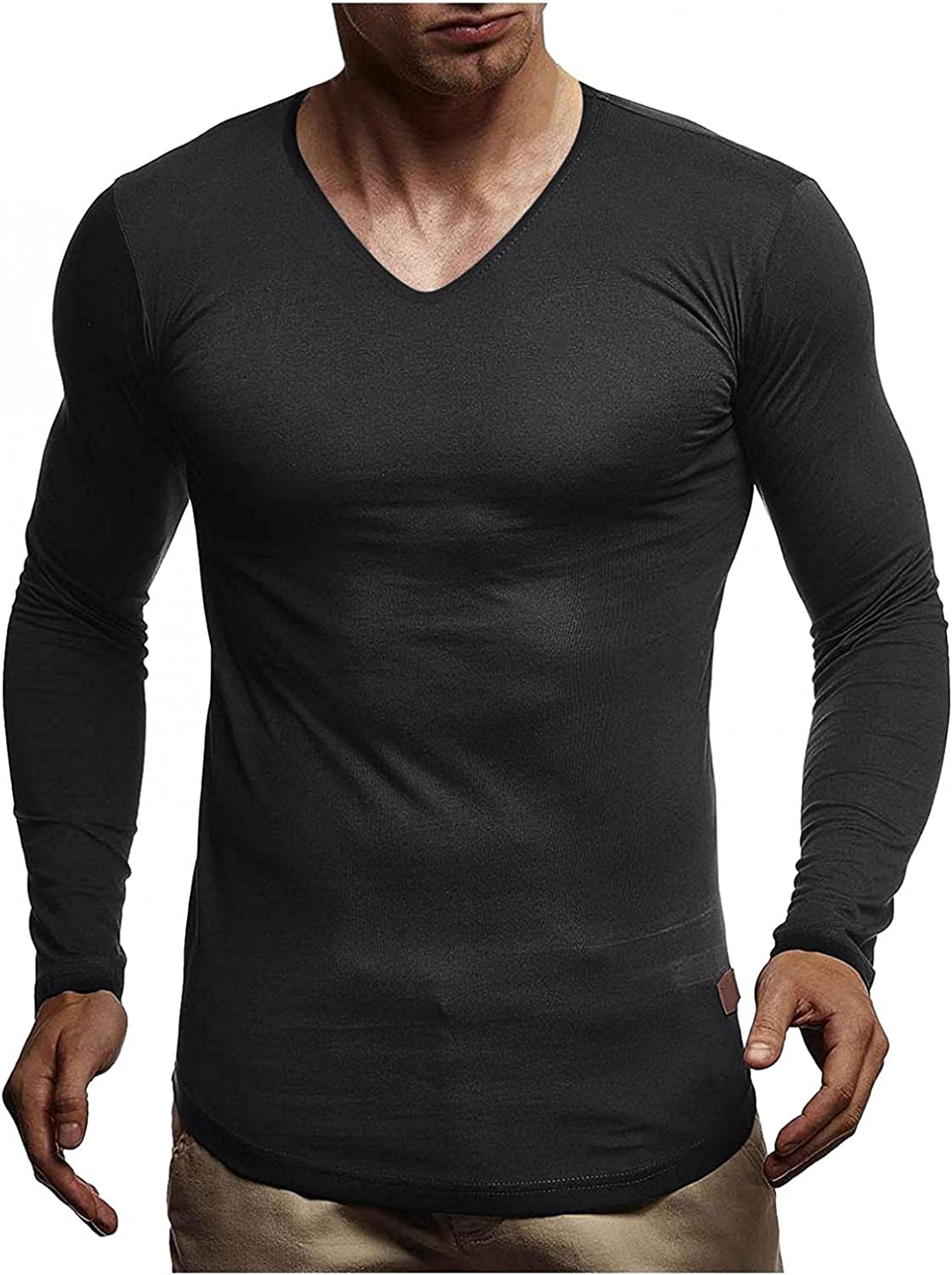 Aayomet Men's T Shirts Vintage Solid Long Sleeve V Neck T-Shirt Casual Sport Workout Athletic Tee Tops Shirts