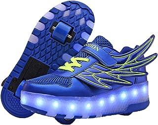 Zapatillas de Deporte con Ruedas LED para niños y niñas, Zapatillas Luminosas de Dos Ruedas con alas de ángel, Zapatillas ...
