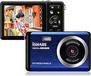 デジタルカメラ デジカメ コンパクト 1920x1080P 2000万画素数懐中電灯付 2.8インチ TFT 軽量笑顔検出8倍デジタルズーム 連続撮影 (ブルー)
