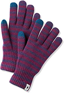 Unisex Striped Liner Glove - Merino Wool Touch Screen Compatible Glove for Men and Women