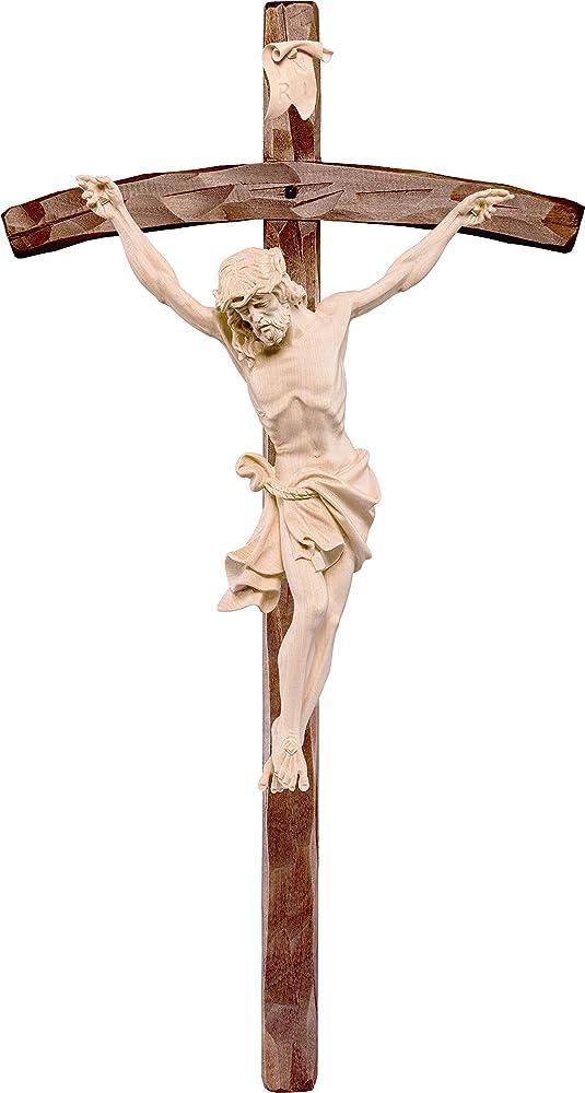 Ferrari & arrighetti crocifisso con cristo delle alpi in legno naturale,statua in legno dipinta a mano. D2313W_160