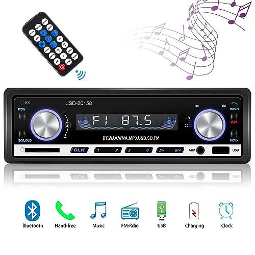 Radio de Voiture stéréo vidéo FM Radio,Besttrendy de 4x60W Poste Radio Voiture,Autoradio Bluetooth avec Télécommande + Adaptateur DIN ISO avec 2 Petits Câbles + 1 Grand Câble