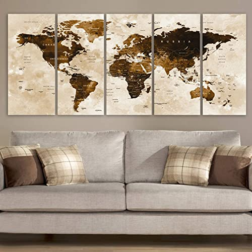 World Map Earth Network Canvas Print Painting Framed Home Decor Wall Art Picture