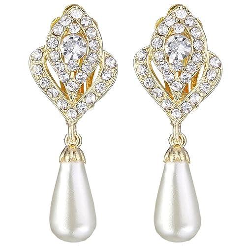 EVER FAITH Gold-Tone Austrian Crystal Cream Simulated Pearl Flower Bud Dangle Earrings Clear