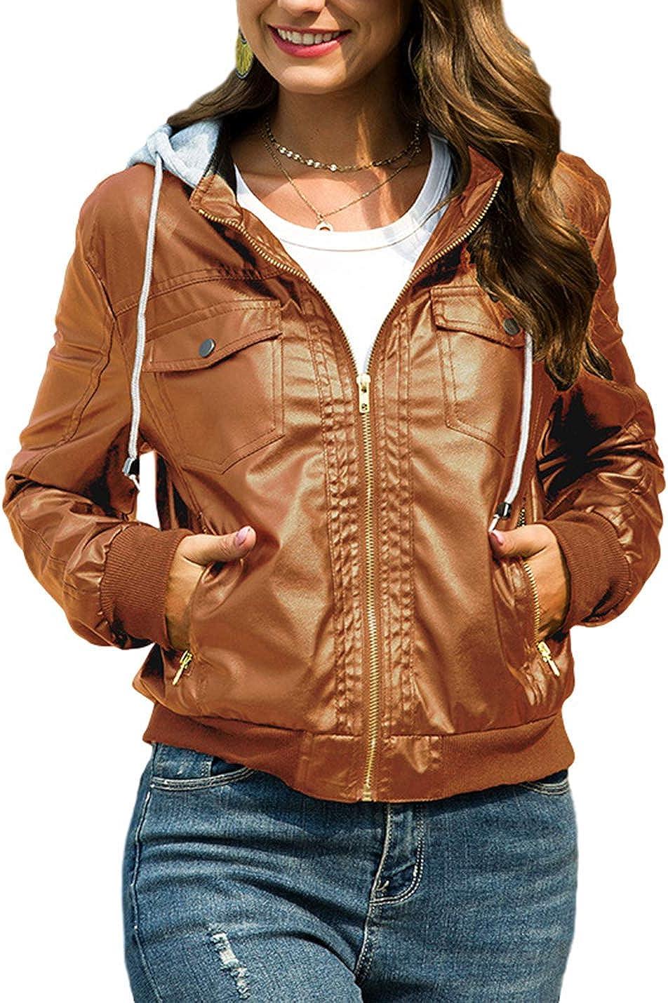 ForeverGod Women's Casual Lapel Collar Faux Hoodie Zipper Motorcycle Coat