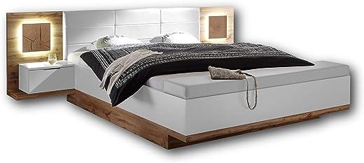 Capri Stilvolle Doppelbett Bettanlage mit Bettkasten & LED-Beleuchtung 180 x 200 cm – Schlafzimmer Komplett-Set in Wildeiche-Optik, Weiß – 305 x…