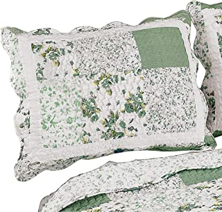 Collections Etc Hadley Floral Patchwork Quilted Pillow Sham, Sage, Sham