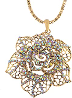 Alilang Vintage Inspired Tone Lacy Filigree Ab Crystal Rhinestone Rose Flower Pendant Necklace