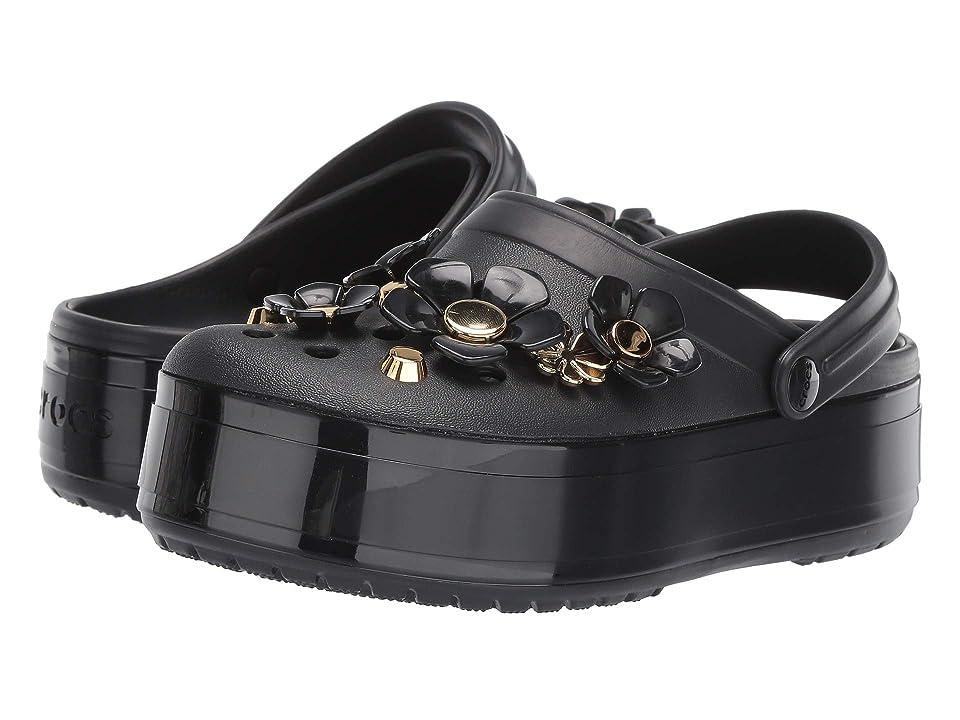 Crocs Crocband Platform Metallic Blooms Clog (Black) Clog/Mule Shoes