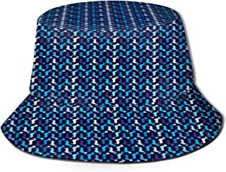 Fisherman Hat Blue Boy Doxie Dog Bucket Hat Unisex 3D Printed Packable Bonnie Cap UV Protect Lightweight Sun Hat for Picnic Hunting Fishing Golf Hiking