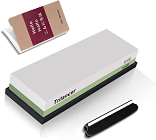 Whetstone Knife Sharpening Stone, 2-Sided 1000/6000 Grit Knife Sharpener, Trilancer Japanese Style Waterstone Kit, Angle Guide and Rubber Base Included