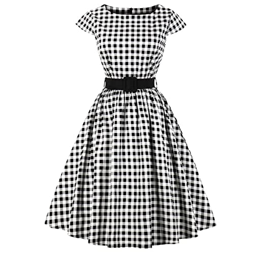 96c9fc5d53 Women's 1950s Vintage Cap Sleeve V Neck Plaid Swing Dress with Pockets
