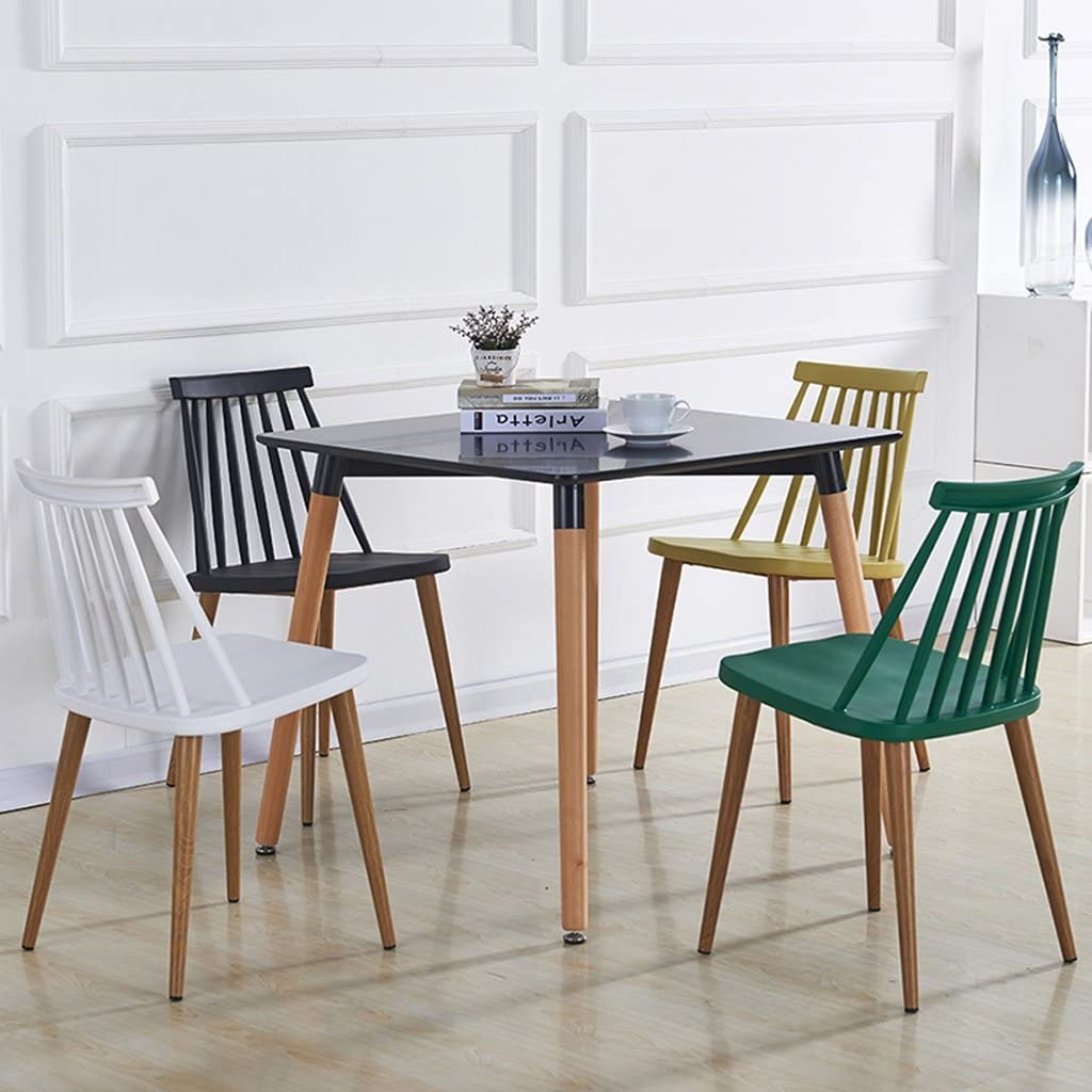 GLJ Mode Dinant la chaise en plastique arrière multicolore facultative de siège de loisirs de tabouret de chaise de chaise moderne Tabouret de bar (Color : Green) Yellow