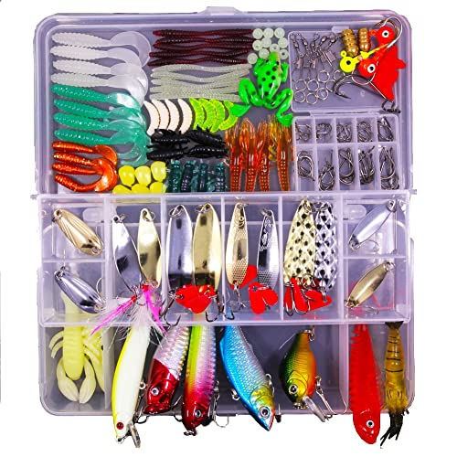 Apusale 180pcs Fishing Lure Set Kit Mixed Lots Including Crankbaits,Spinnerbaits, Spoon Lures,