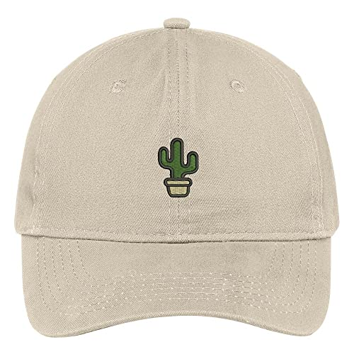 5558c12b466 Trendy Apparel Shop Small Cactus and Pot Embroidered Soft Cotton Low  Profile Dad Hat Baseball Cap