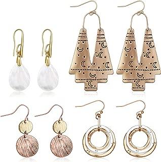 4 Pairs Bohemian Vintage Dangle Earrings Retro Rhinestone Earrings Boho Dangle Drop Earrings for Women Girls (Style D)