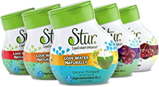 Stur - Natural Water Enhancer, Variety Pack (5 Bottles, Makes 100 Flavored Waters) - Sugar Free, Zero Calories, Kosher, Keto Friendly Liquid Drink Mix Sweetened with Stevia (Summer Variety Pack)