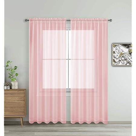 Two 96L x 50W  Custom Curtain Panels Shibori Blush Rod Pockets Pink
