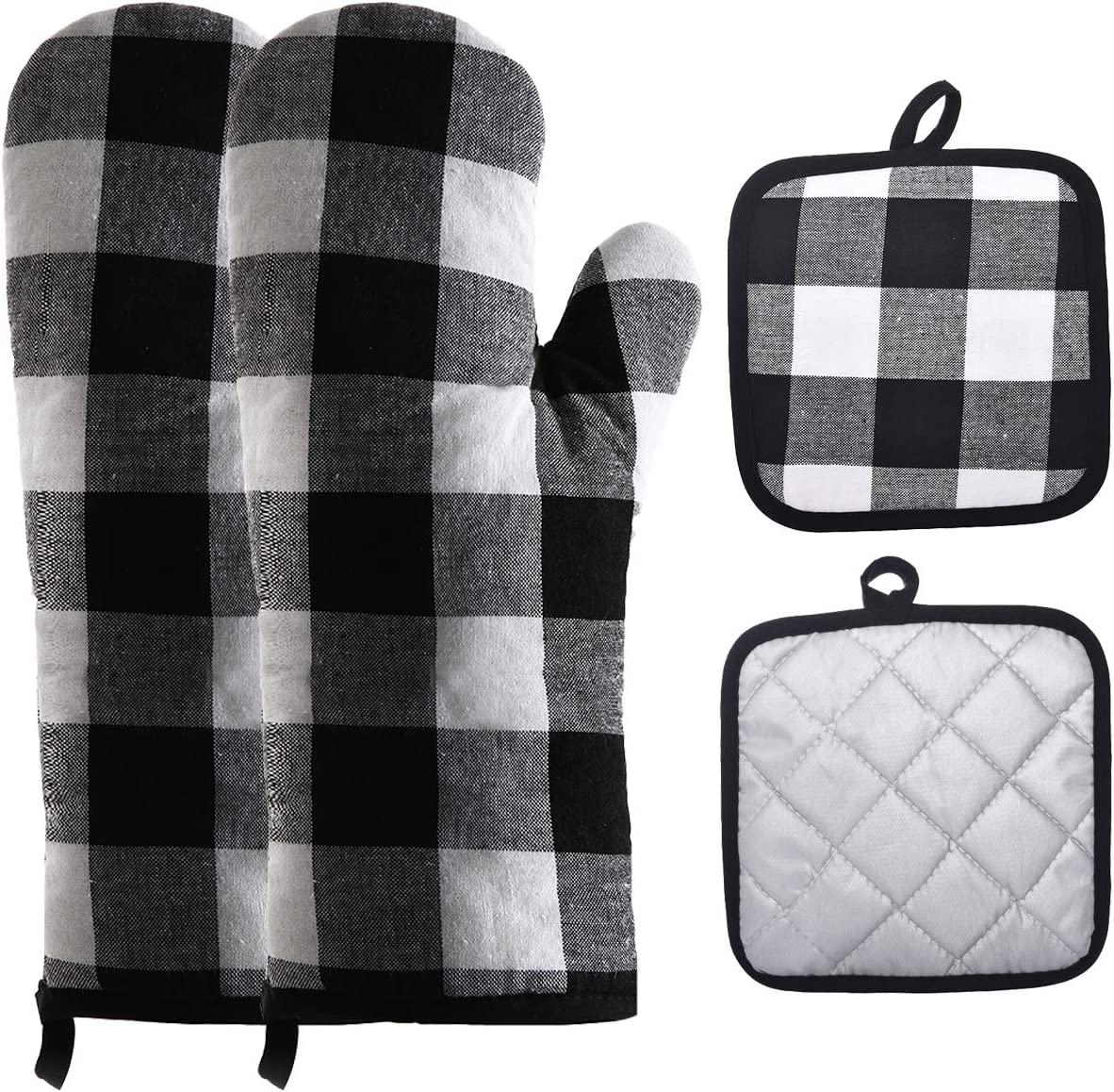 4-Piece Set,Black//White Win Change Oven Mitts and Pot Holders-Oven Mitts and Potholders Soft Cotton Plaid Design Lining Non Slip Oven Mitt Set for Kitchen Cooking Baking Grilling