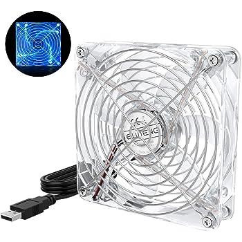 ELUTENG 120mm Fan Cooling Transparent USB Desk Fan with Blue LED Light 5V Ventilation Fan Clear Compatible for Receiver, Router, Laptop, DVR, Playstation, Xbox, Computer Ventilator