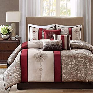 OS 7 Piece King Red Comforter Set, Luxurious Modern Bedding, Stunning Striped Floral Pattern, Delicate Embroidery Geometric Sophisticated, Ruby Red, Grey White