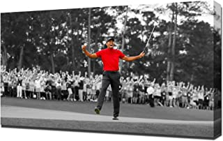 Lilarama USA Tiger Woods Masters Win 2019 1 Black and White and Red - Canvas Art Print - Wall Art - Canvas Wrap