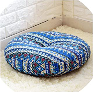 NanPing Linen Round Floor Cushions Meditation Cushion Large Flat Pads Japanese Futon Removable and Washable,156641 Bonia Blue,Diameter 50cm