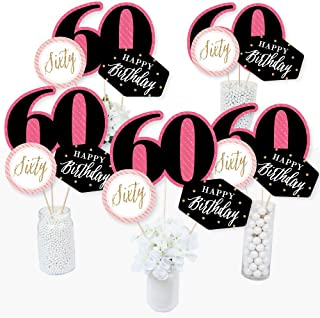 Chic 60th Birthday - Pink, Black and Gold - Birthday Party Centerpiece Sticks - Table Toppers - Set of 15