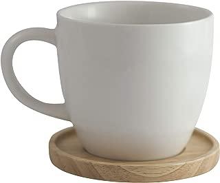 Amuse- Aquarelle Collection- Grande Porcelain Mug with Bamboo Lid (17 oz.)- Gift Box (White)