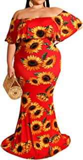 IyMoo Women's Off Shoulder Ruffle Bodycon Fit Floral Print Floor Length Long Maxi Dresses Party Evening Gown