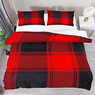jonycm Juego De Cama De 3 Piezas Red Black Buffalo Plaid Pattern Scottish 3Pcs Modern Duvet Cover Set Personalice El Juego De Cama con 2 Fundas De Almohada 1 Funda Nórdica Edredón Colcha 177X218Cm