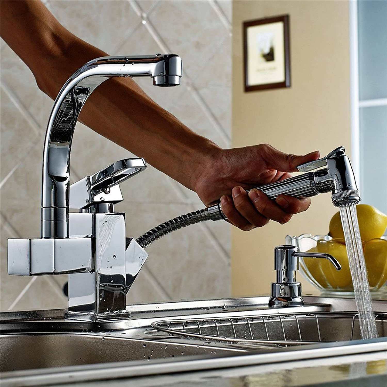 Bijjaladeva Wasserhahn Bad Wasserfall Mischbatterie Waschbecken Armatur für Das Kupfer -360 Grad schwenkbaren Pull-Down Wasserhahn Schüssel Waschbecken Wasserhahn Küche Wasserhahn