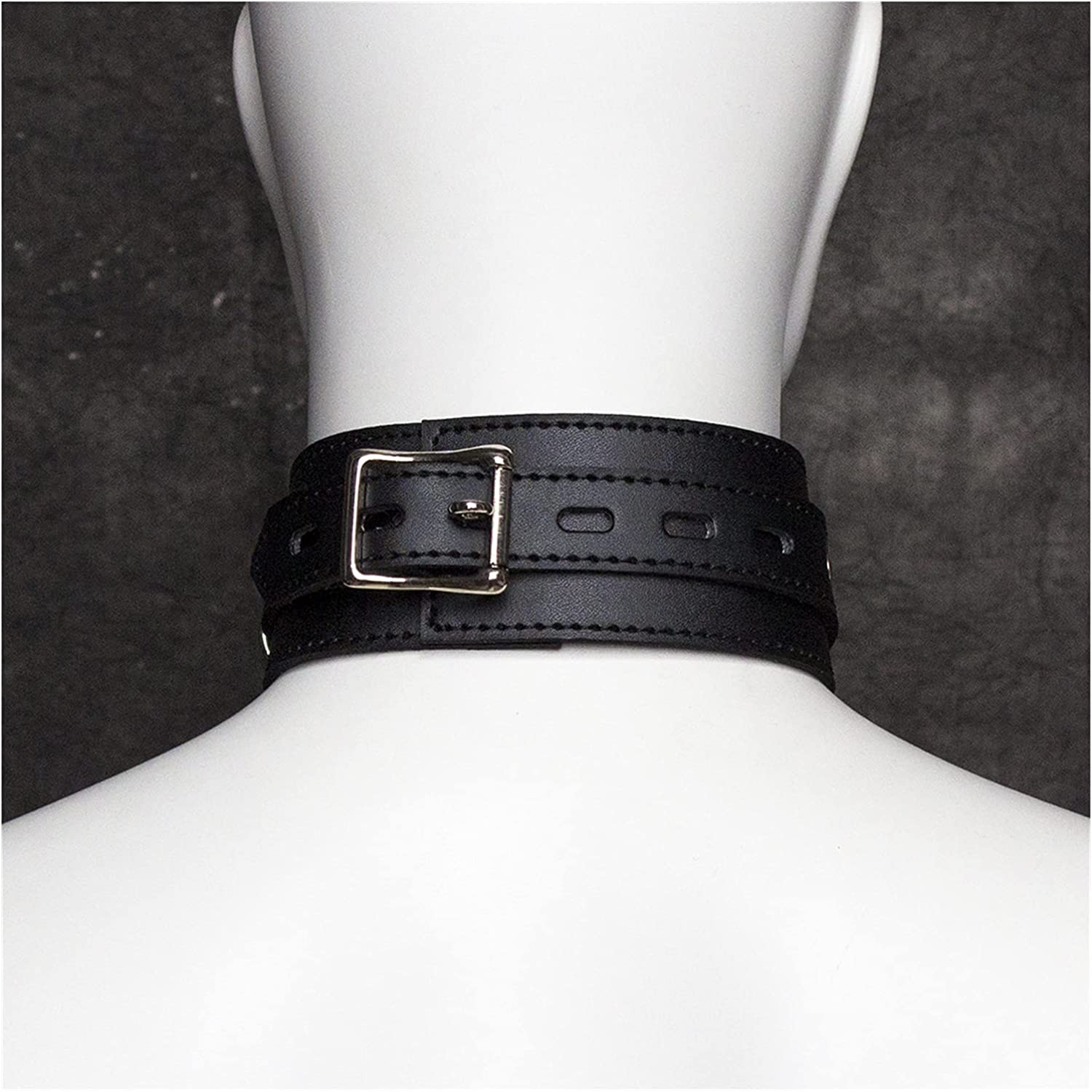 xo-kq Gothic Necklace Punk Collar Chain PU Leather Clavicle Collar Leash Toys Choker Rock Belt Fashion Jewelry Gifts for Adults Cosplay Women Couples (Color : A0182, Size : B01)