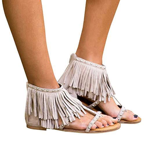 2e732d615afb Dellytop Womens Fringe Tassals Flip Flops Thong Gladiator Flat Sandals Wrap  Rivet with Zipper Summer Shoes