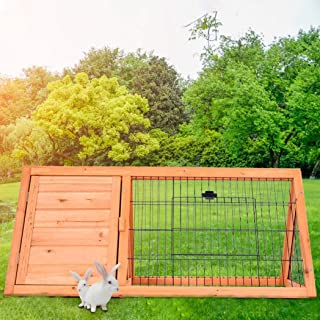 Rabbit Hamster Cage Wooden A-Frame Animal Hutch Patio Pet House Chicken Coop, Outdoor Wood Large Rabbit Hutch Small Animal...
