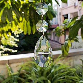 Chengmu 38mm Teardrop Glass Pendant Beads 25pcs Hanging Crystal Glass Pendants Suncatchers Prism Beads for Necklaces Chandelier Candelabra Ceiling Lamp Curtain Parts Party Wedding Decoration (White)