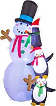 YIHONG 8 Ft Christmas Inflatables Snowman with Penguins Decorations - Blow up Party Decor for Indoor Outdoor Yard with with Color Changing LED Lights