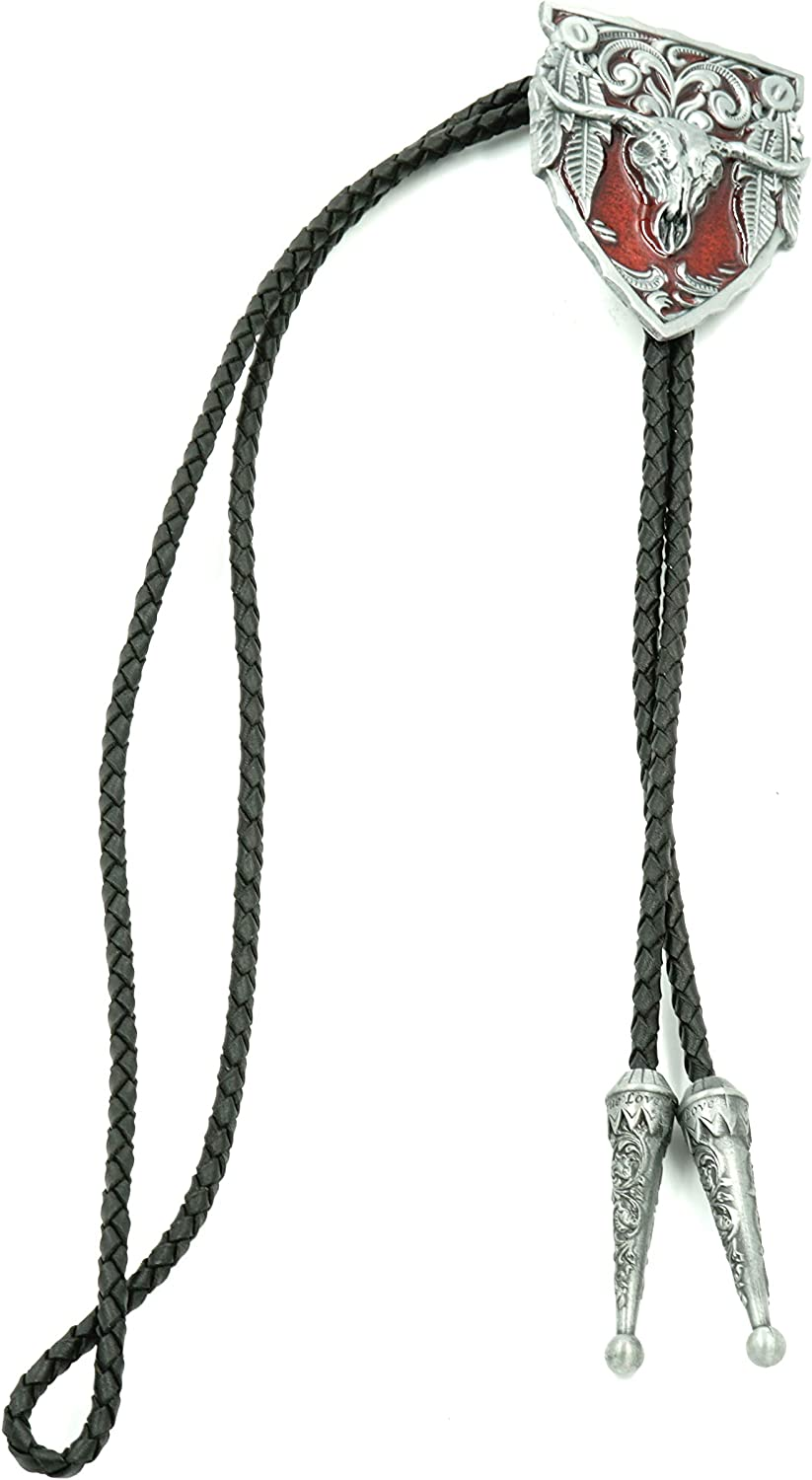 Long Horn Bull Cheap SALE Cheap super special price Start Red Enamel Bolo Leather Neck Tie Western