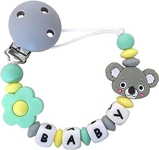Attache tetine silicone de dentition pour garçon et fille, attache sucette bébé original en perle sans BPA, anneau de dent...