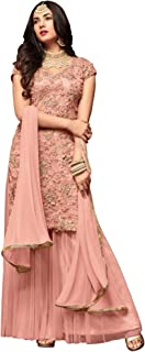 Deepjyoticreation DJ Creation Women's Net Embroidered Moti Work Palazzo Style Sharara Suit (Light Pink, Free Size)